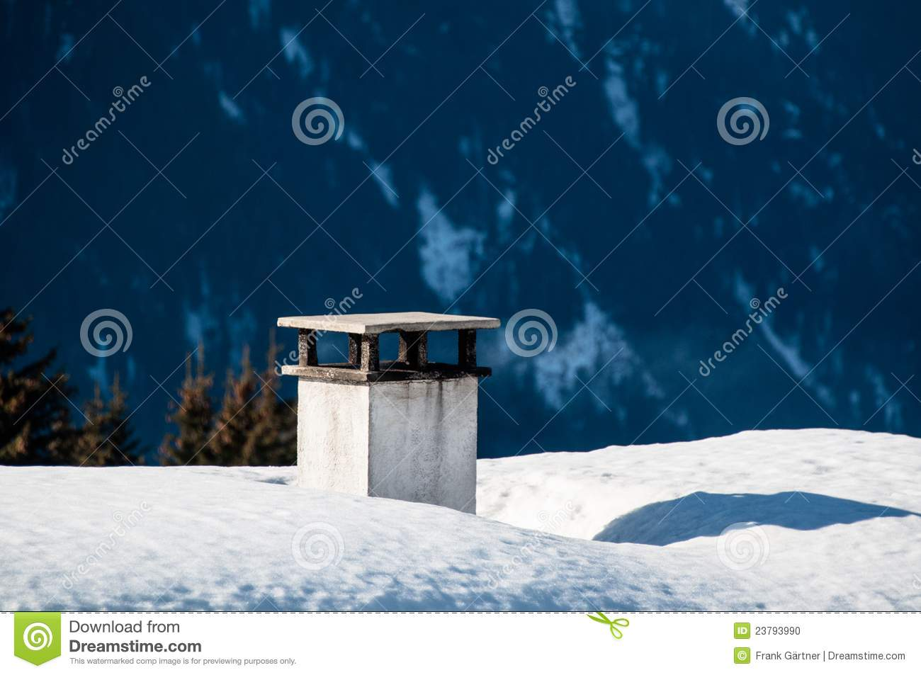 Chimney On Snow Covered Roof Stock Photo Image 23793990