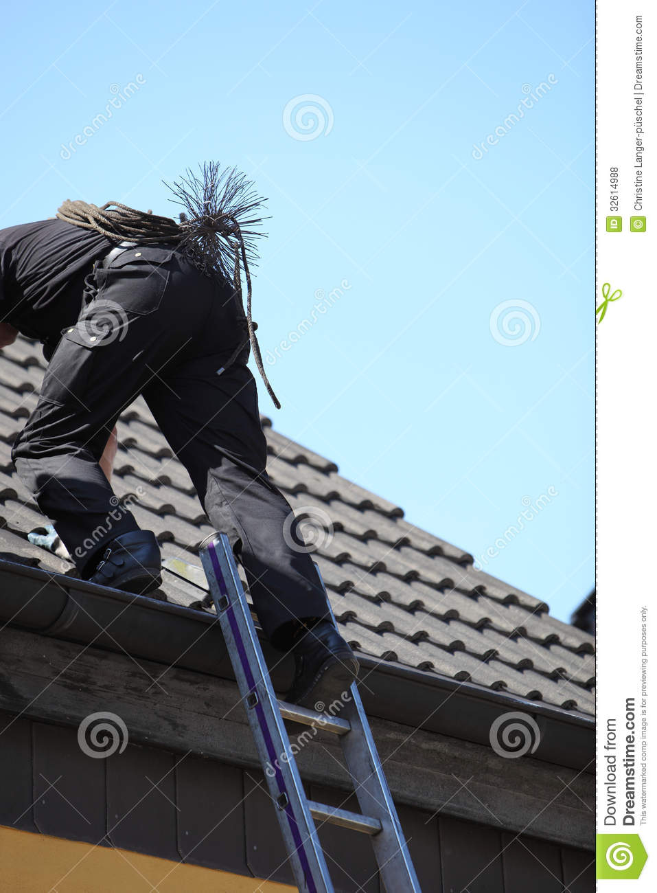 Chimney Sweep Climbing Onto The Roof Of A House Royalty ...