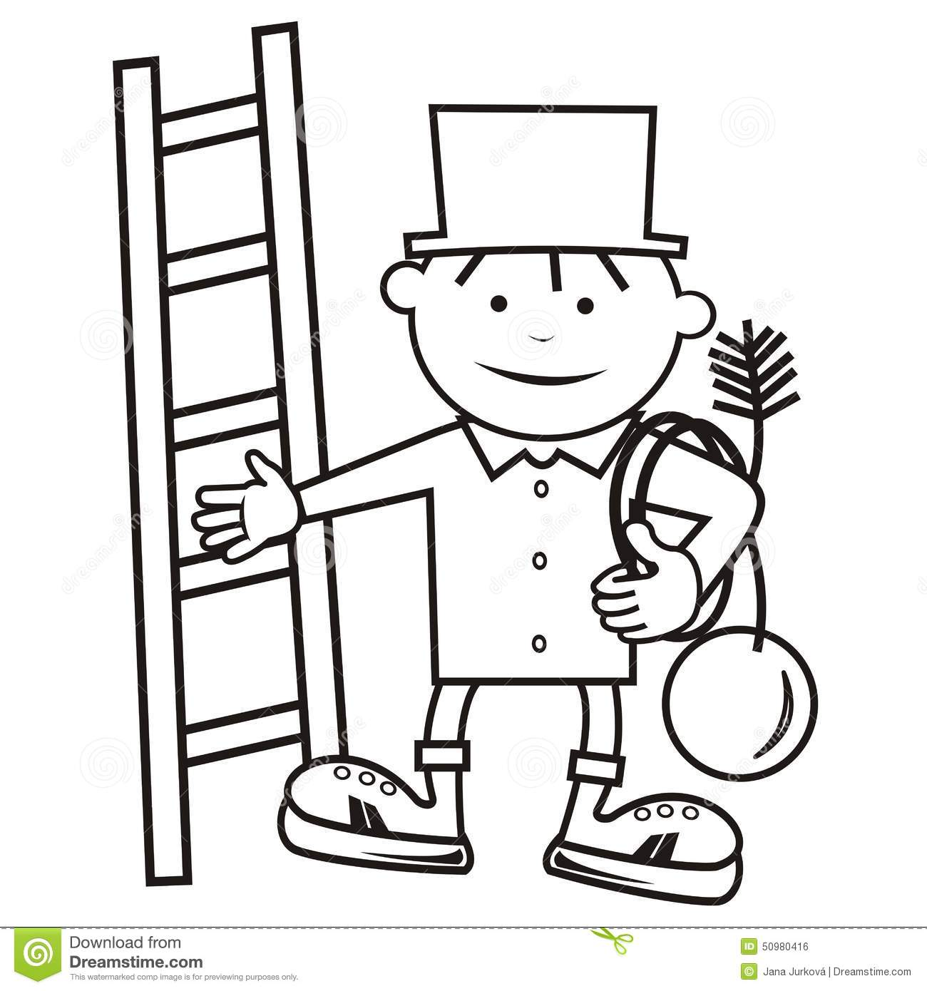 chimney sweep coloring book stock vector image 50980416