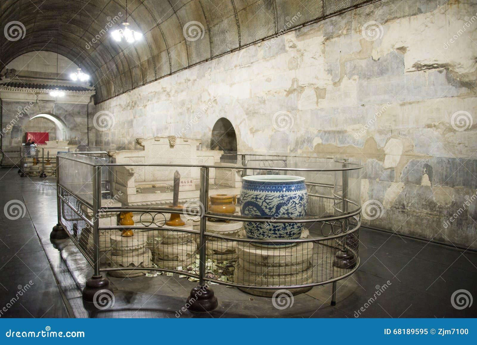Chinês de Ásia, Pequim, túmulo de ŒUnderground do ¼ do palaceï de Œunderground do ¼ de Ming Dynasty Tombsï