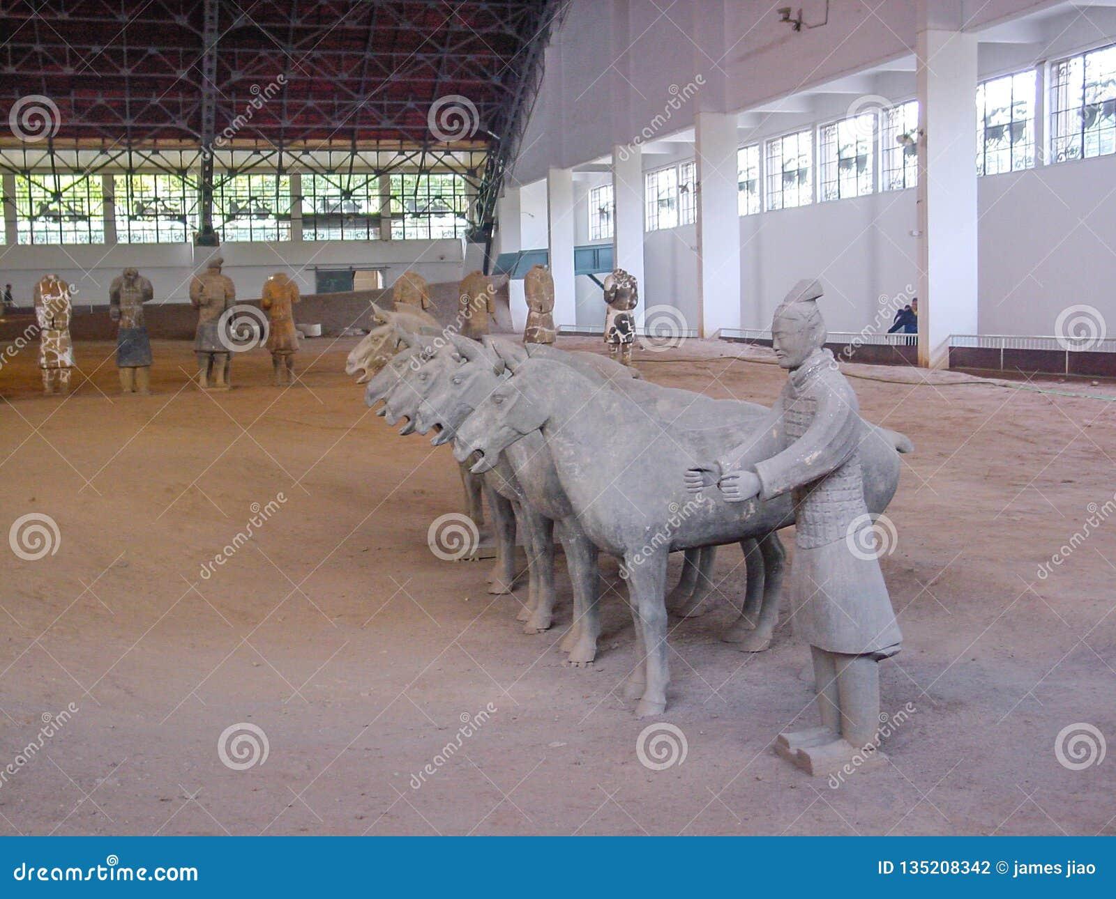 China's第一个皇帝坟茔的秦始皇兵马俑战士在西安 科教文组织世界遗产站点