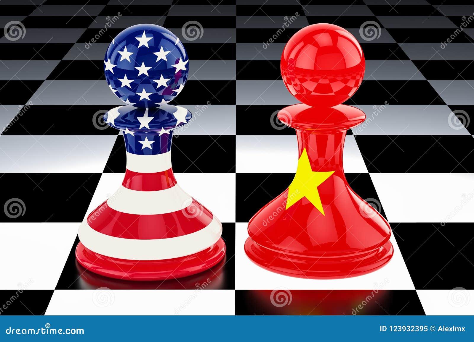 """China†""""Förenta staternakonfrontation och oppositionbegrepp 3D r"""