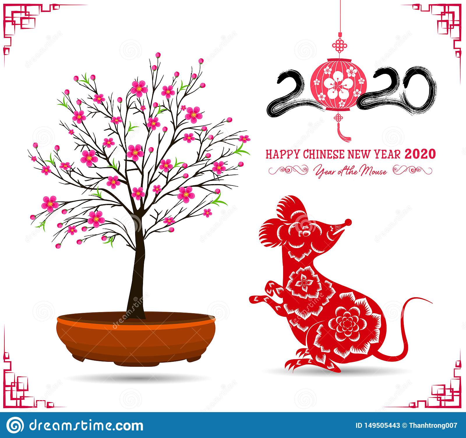 Korean New Year 2020.Happy New Chinese Year 2020 Year Of The Rat Year Of The