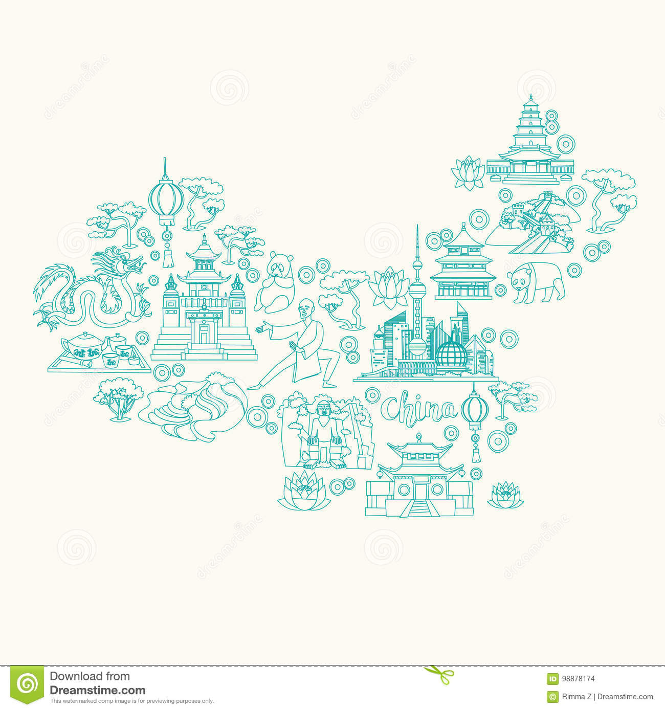 china landmarks coloring pages - photo#45