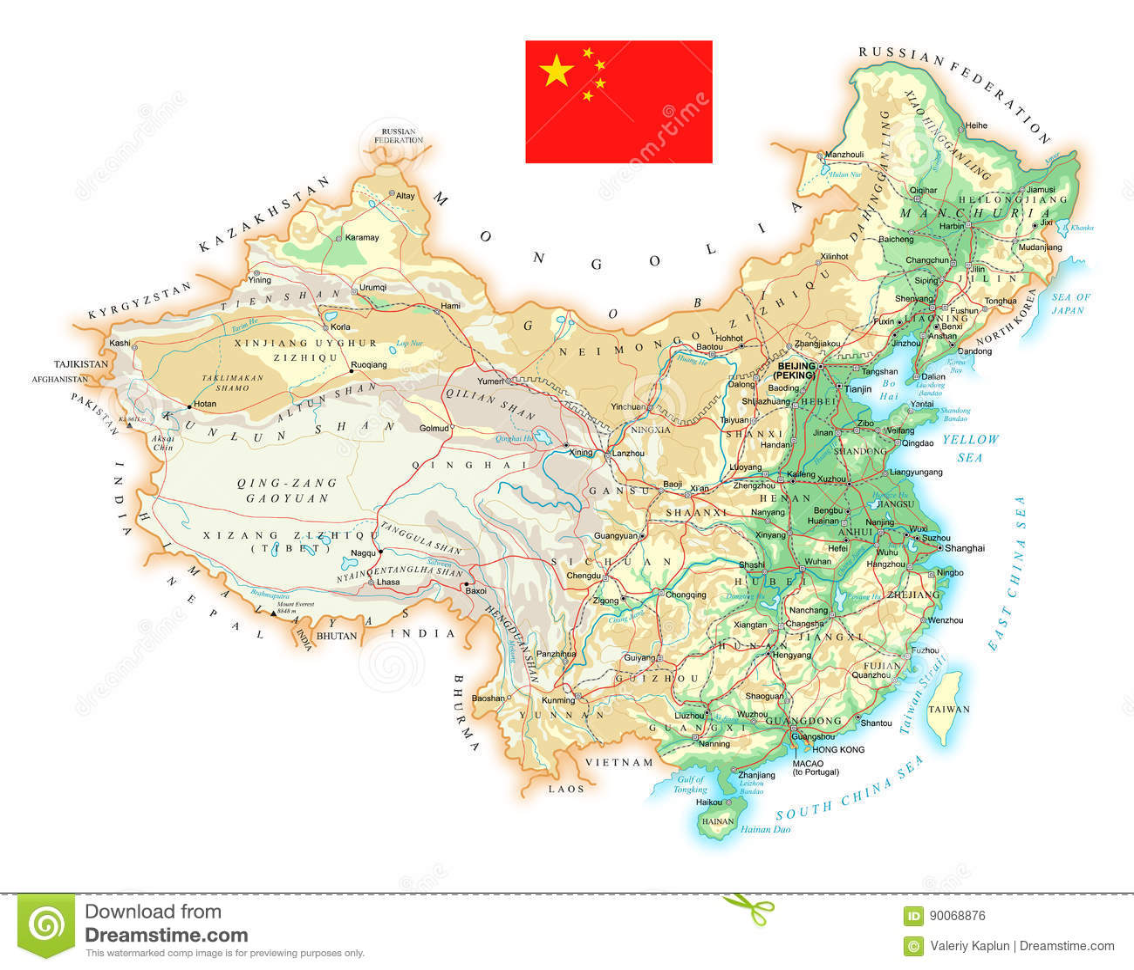 china geographische karte China   Ausführliche Topographische Karte   Illustration Stock