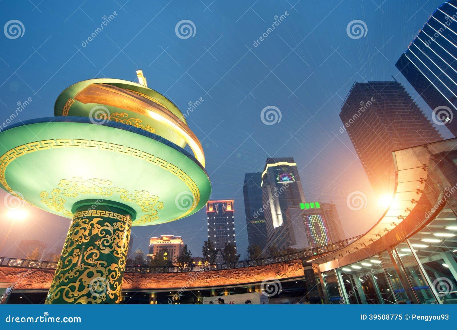 China city center square night
