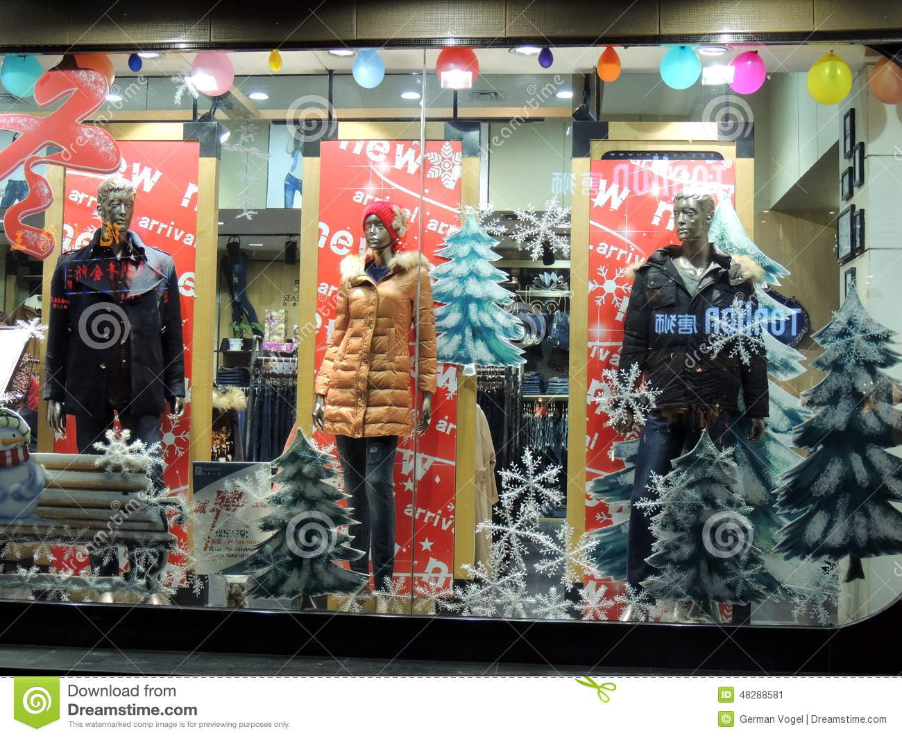 China clothes shop christmas decorations editorial photo for Christmas sale items