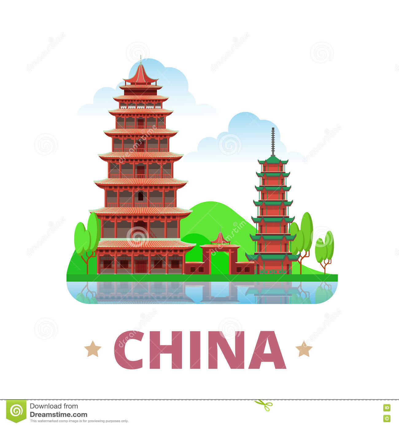 china country design template flat cartoon style w stock vector