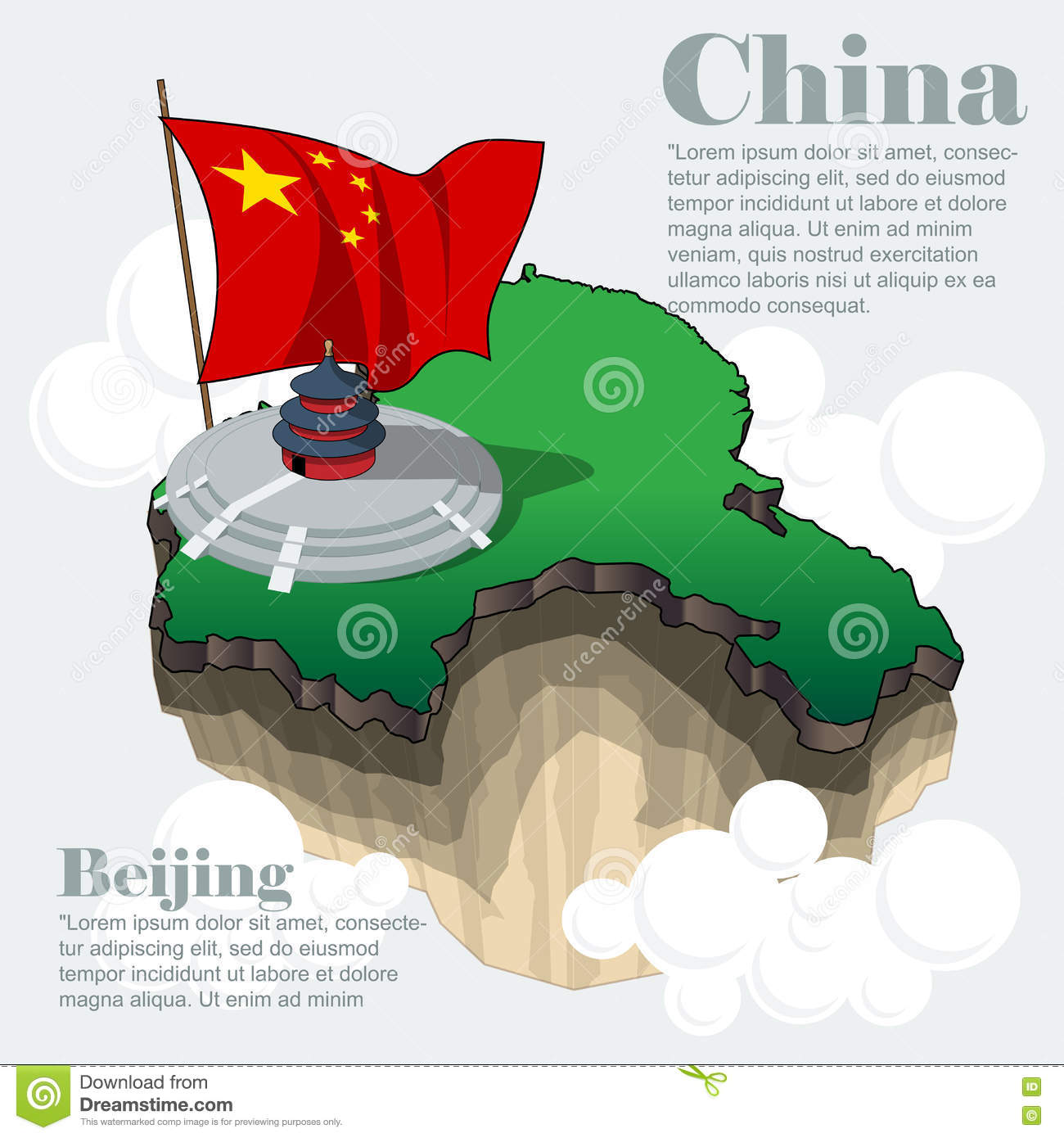 China Country Infographic Map In 3d Stock Vector ...