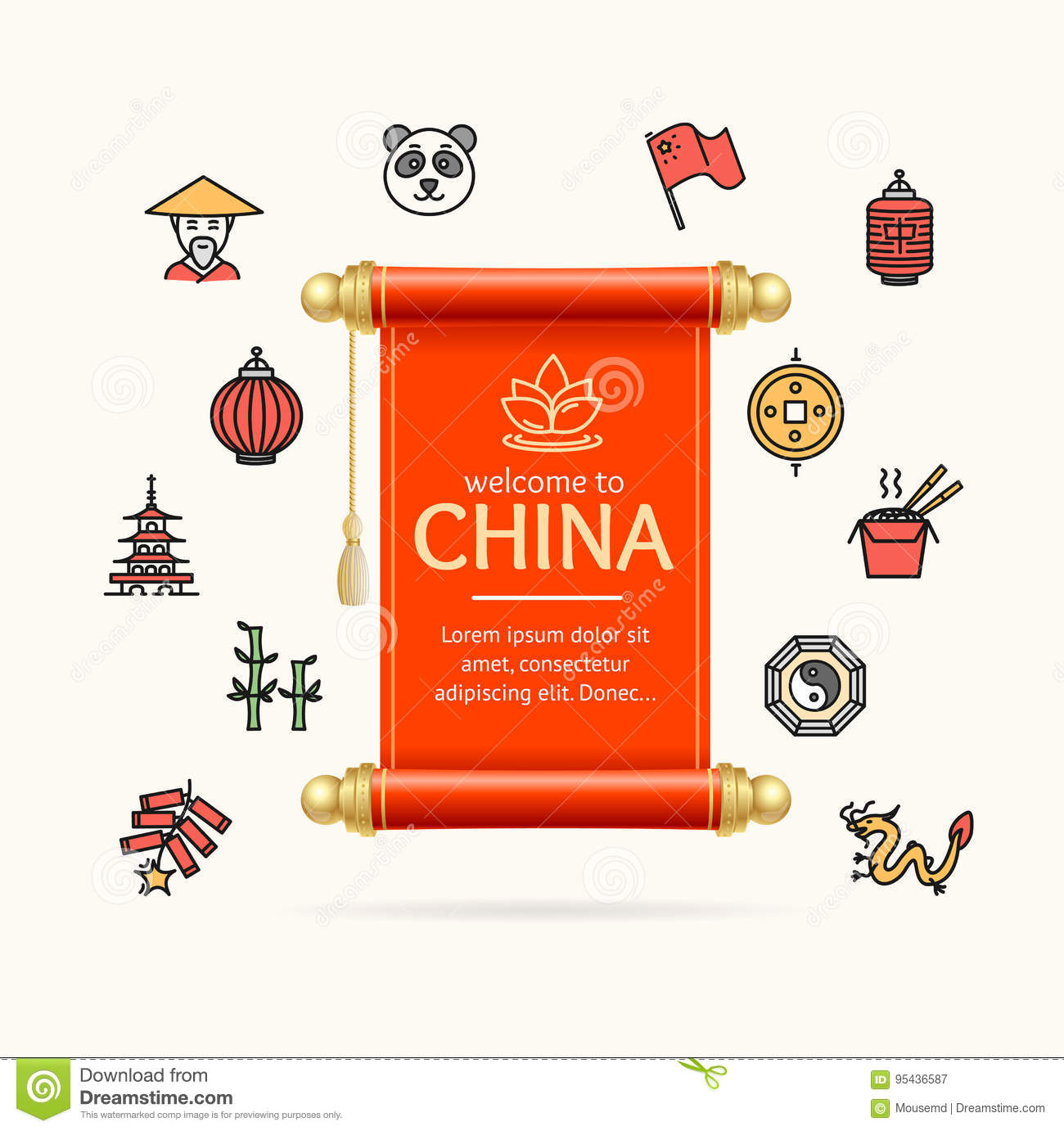 china design template line icon concept and paper scroll card