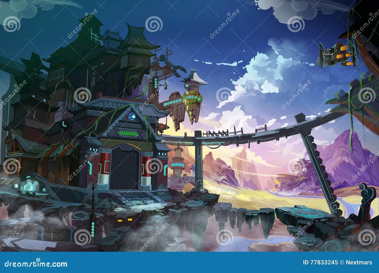 China fantástica Una imaginación combinada con futurista e histórico ambos