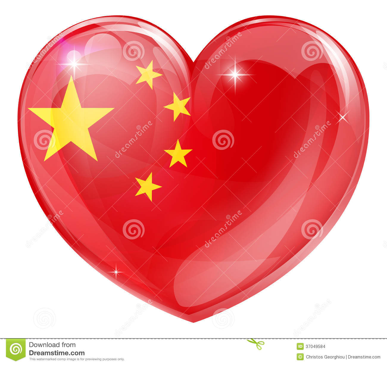 china flag love heart stock images image 37049584