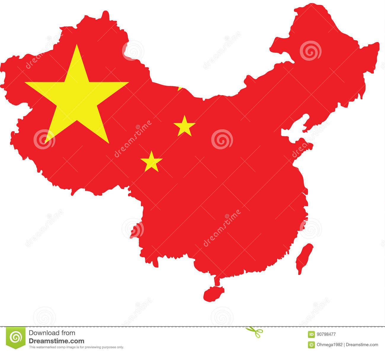 China Flag Map Vector Sketch Up Stock Vector Illustration Of
