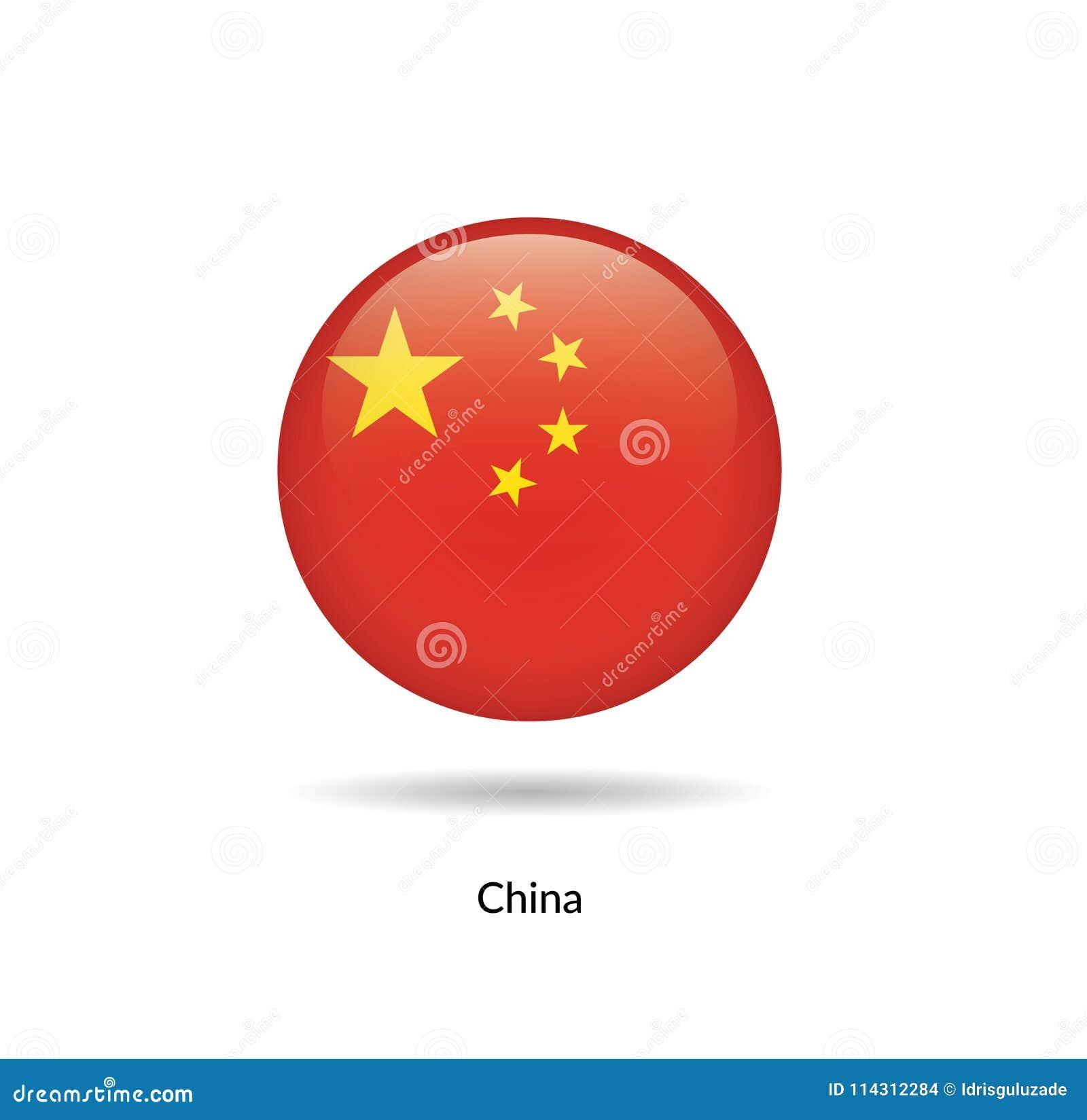 China flag - round glossy