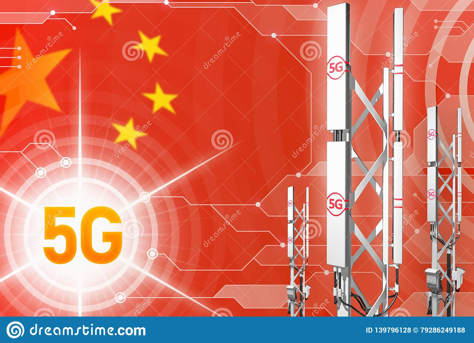 China 5G Industrial Illustration, Big Cellular Network Mast Or Tower