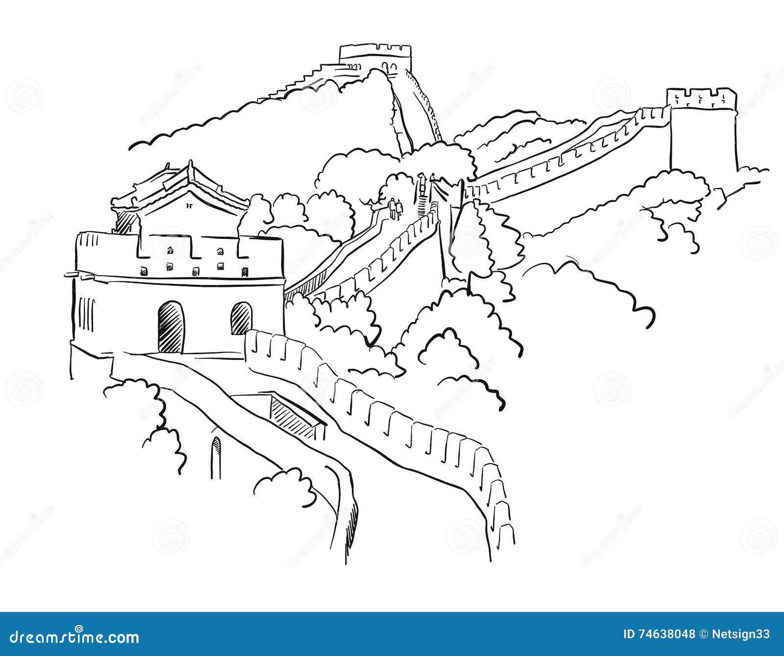 Coloring sheet great wall of china - China Great Wall Vector Sketch Stock Vector