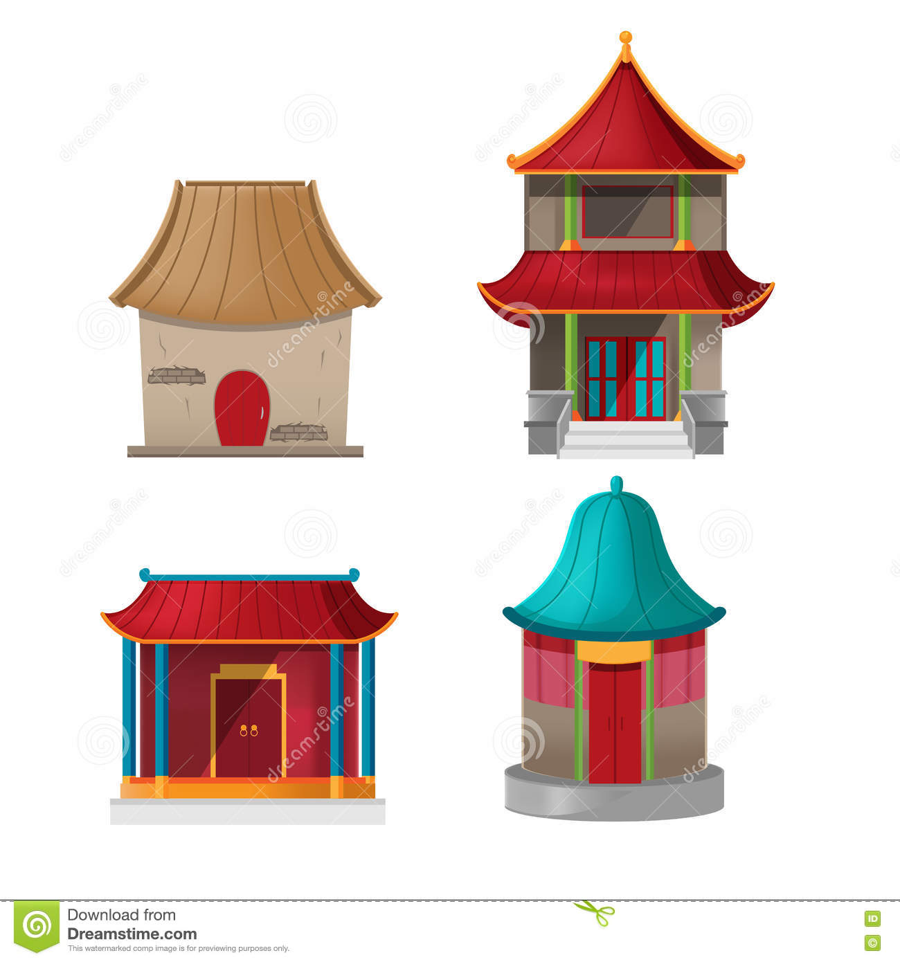China House Design Collection Set Vector Stock