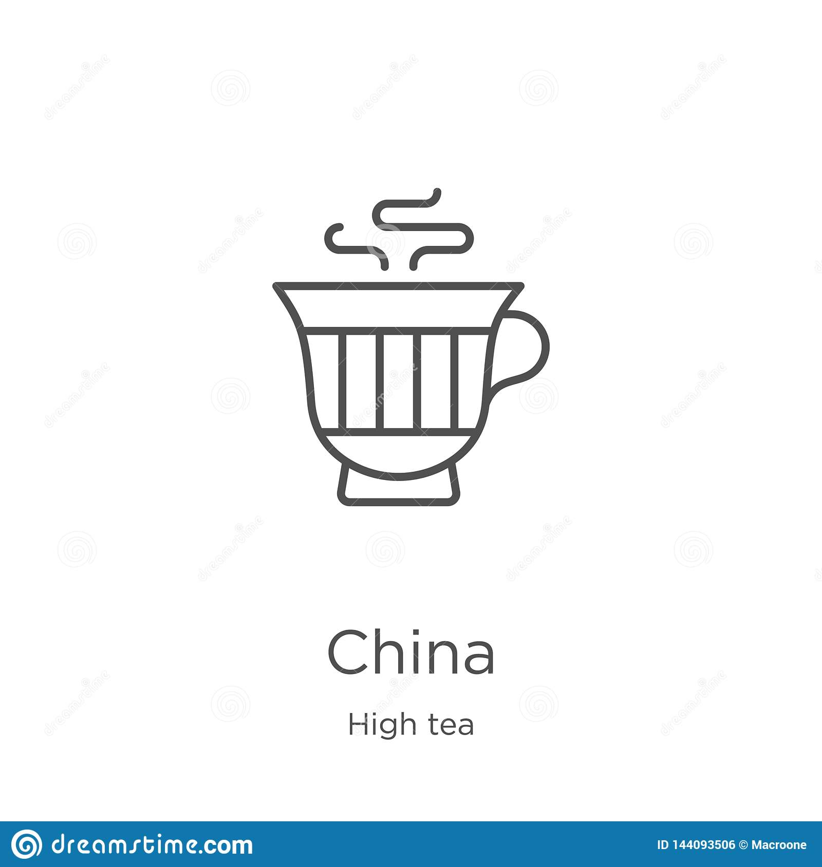 china icon vector from high tea collection. Thin line china outline icon vector illustration. Outline, thin line china icon for