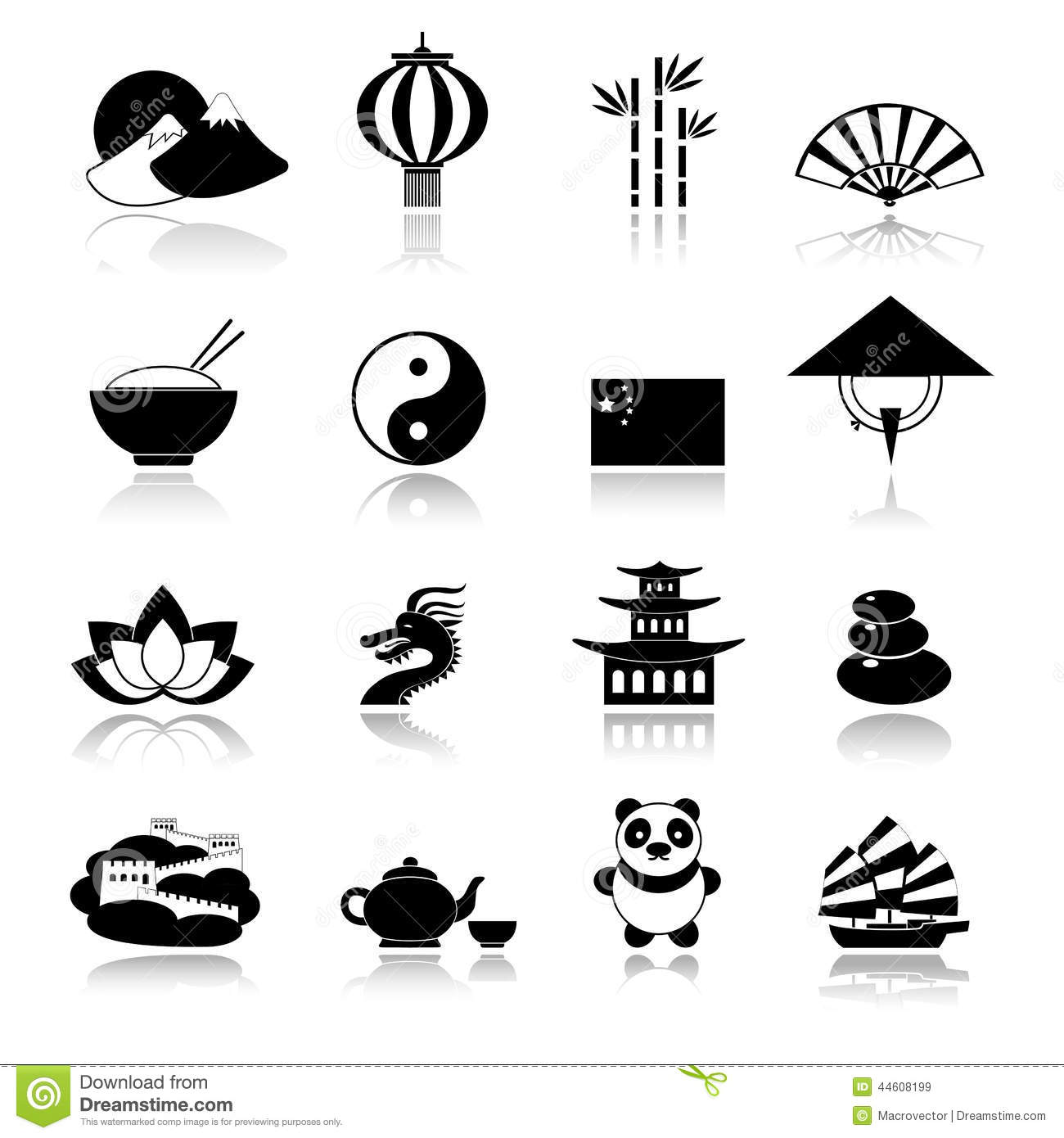 ... black icons set with dragon panda rice isolated vector illustration