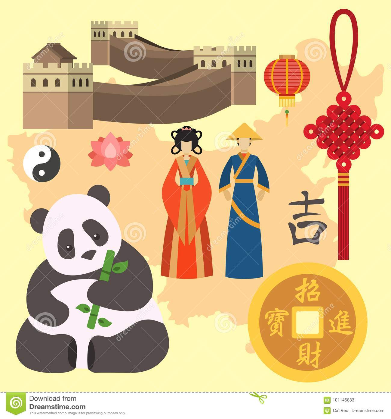 Download China Icons East Ancient Famous Oriental Culture Chinese Traditional Symbols Stock Vector