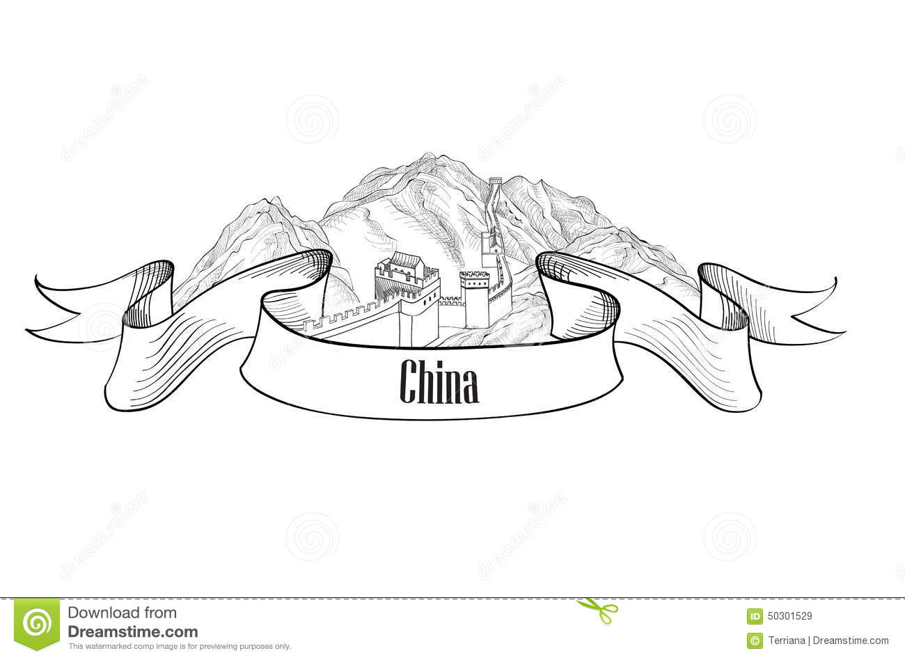 China Label Travel Asia Label The Great Wall Of China Symbol S