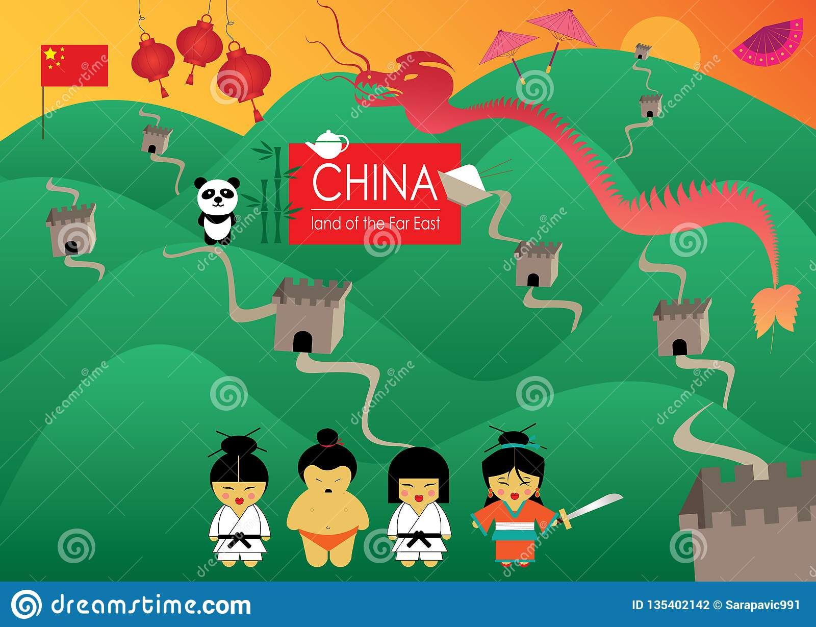 China land of far east with beautiful illustrations