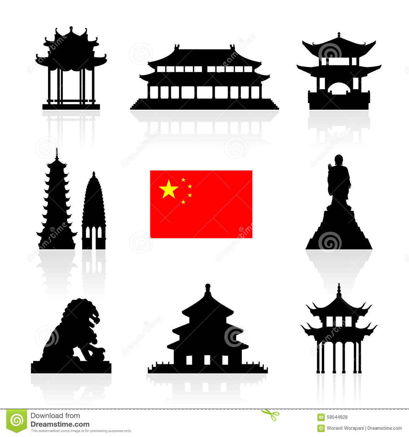 China landmarks icon set stock vector image 59544628 for Chinese vector