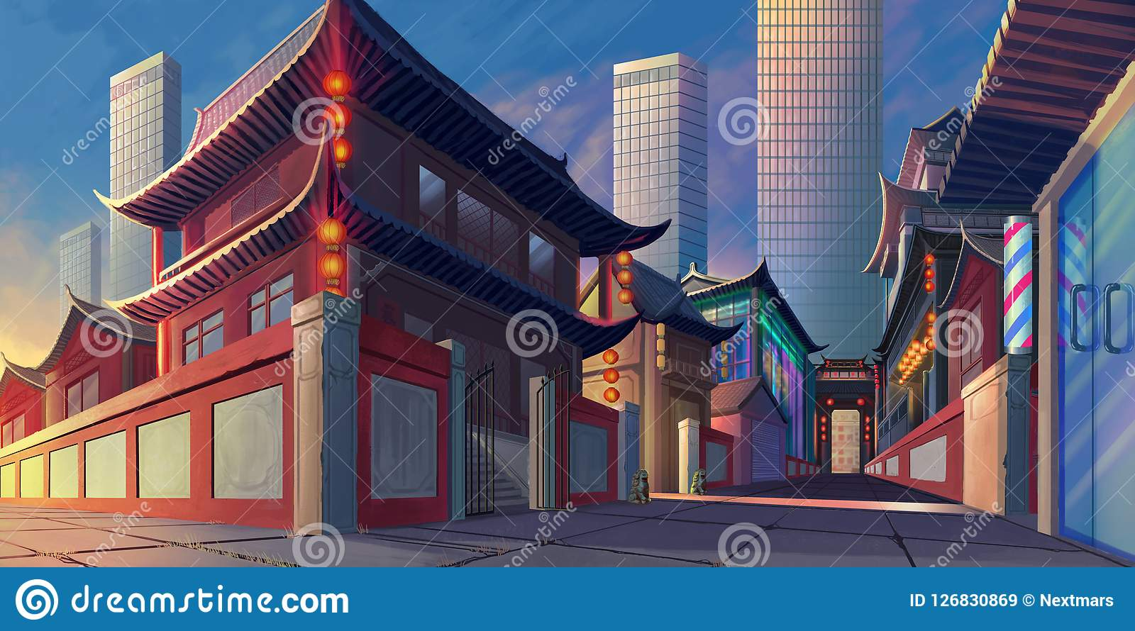 China Luoyang Street Realistic Country City Area Painting Series