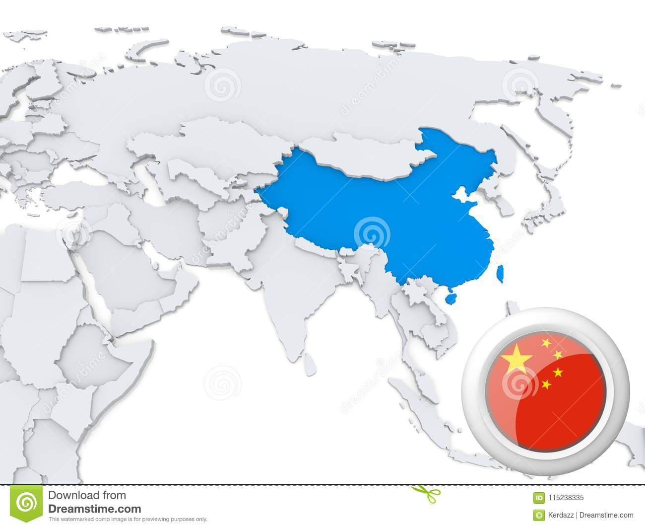 Map Of China And Asia.China On Map Of Asia Stock Illustration Illustration Of Atlas