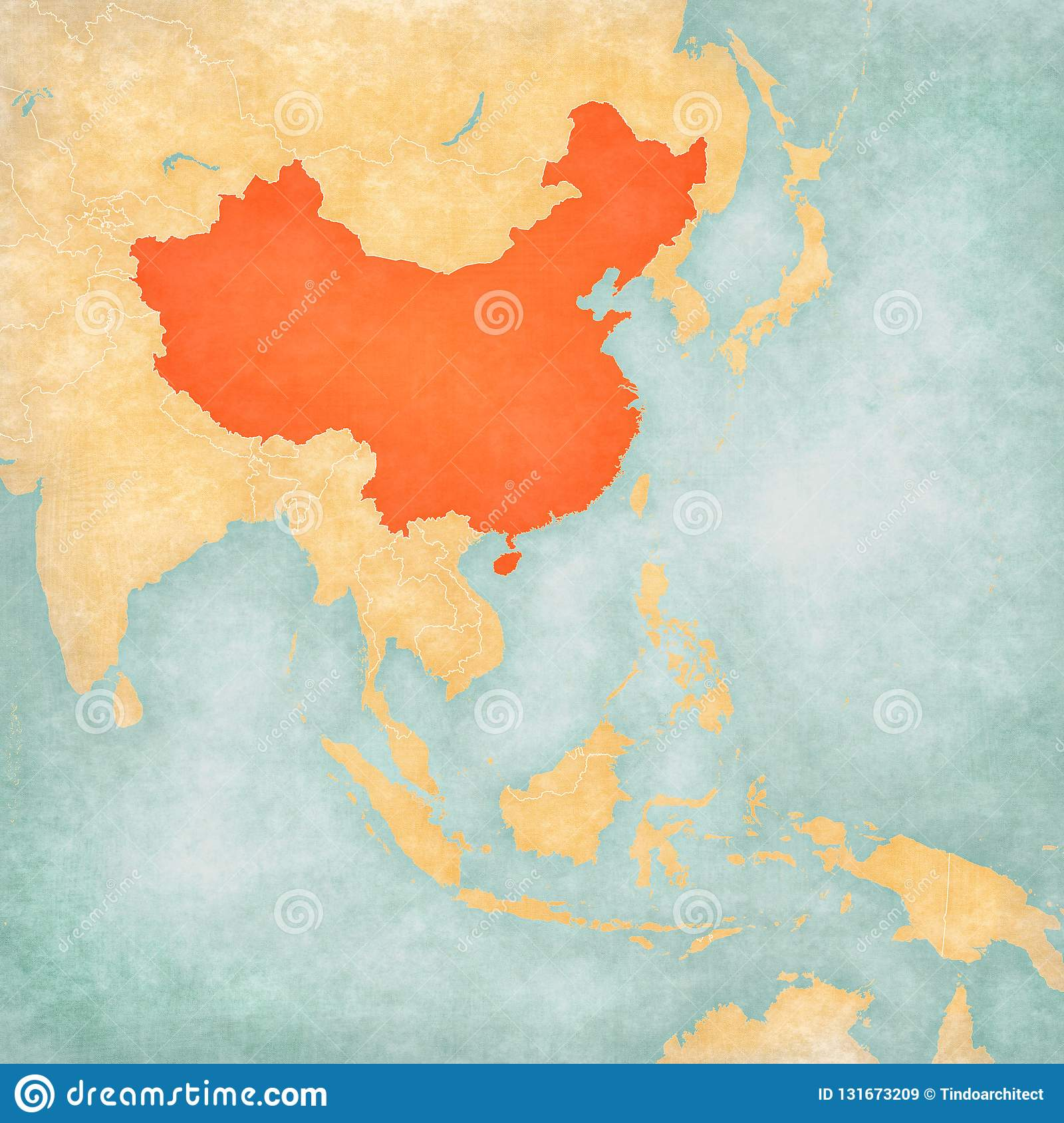 Map of East Asia - China stock illustration. Illustration of paper ...