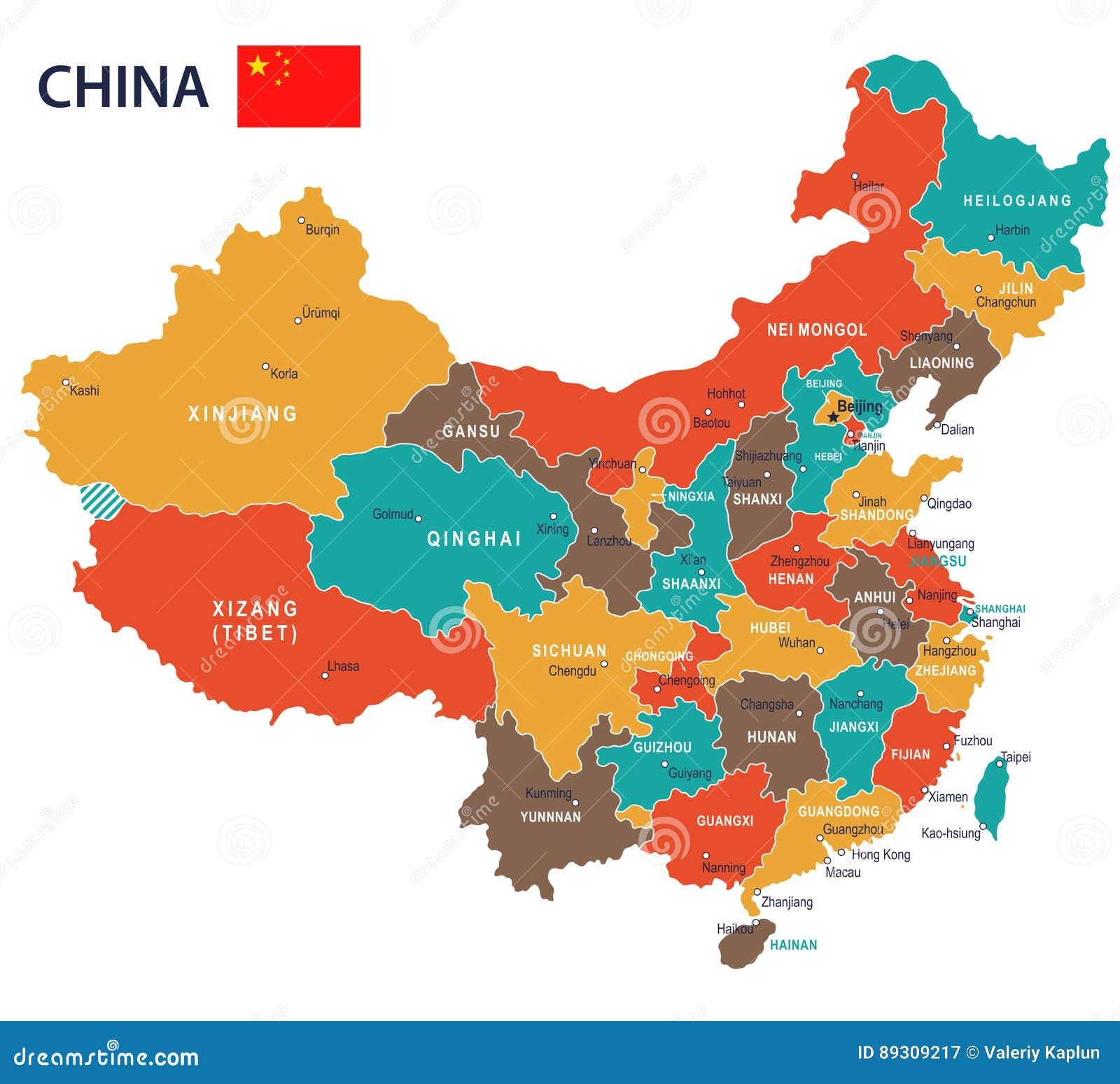 China - Map And Flag - Illustration Stock Illustration ...