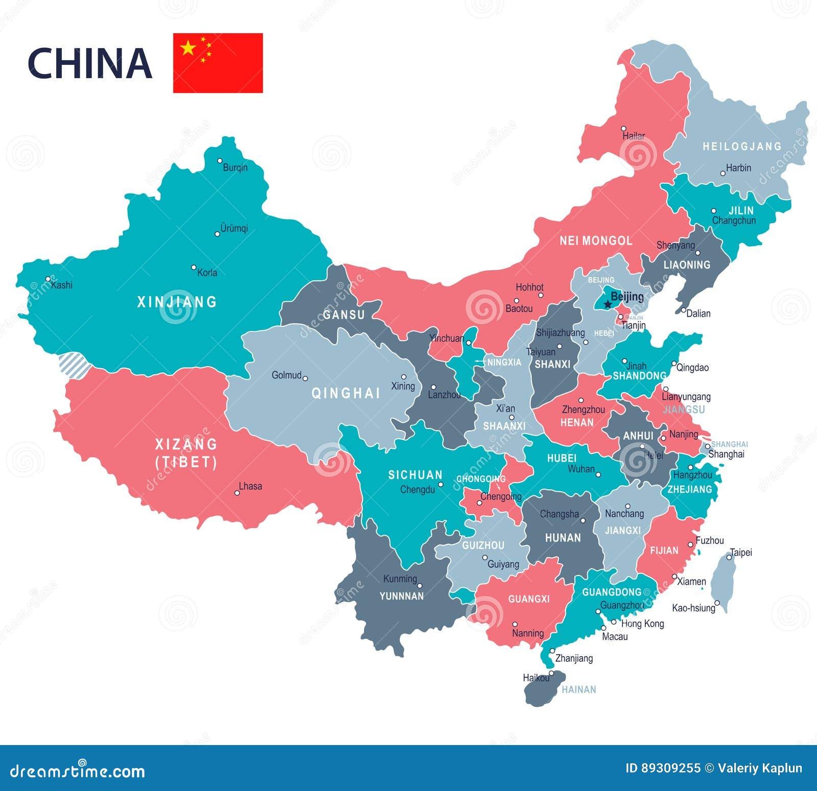 China Map And Flag Illustration Stock Illustration