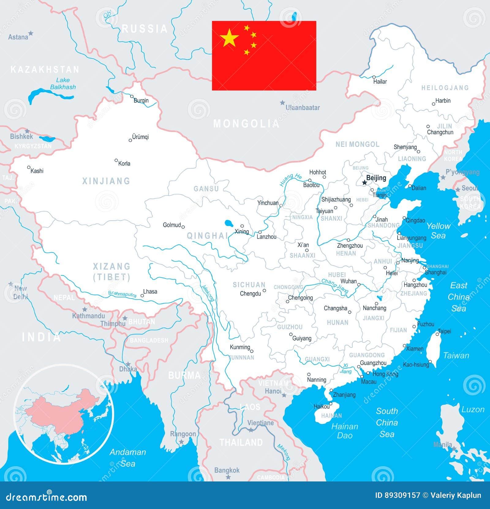 Xiamen China Map.China Map And Flag Illustration Stock Vector Illustration Of