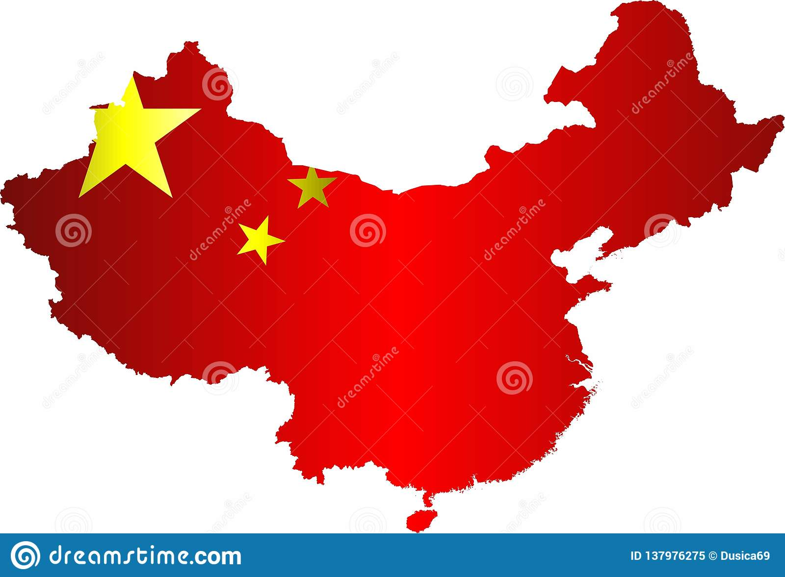 China Map With Flag Inside Stock Vector Illustration Of Chinese