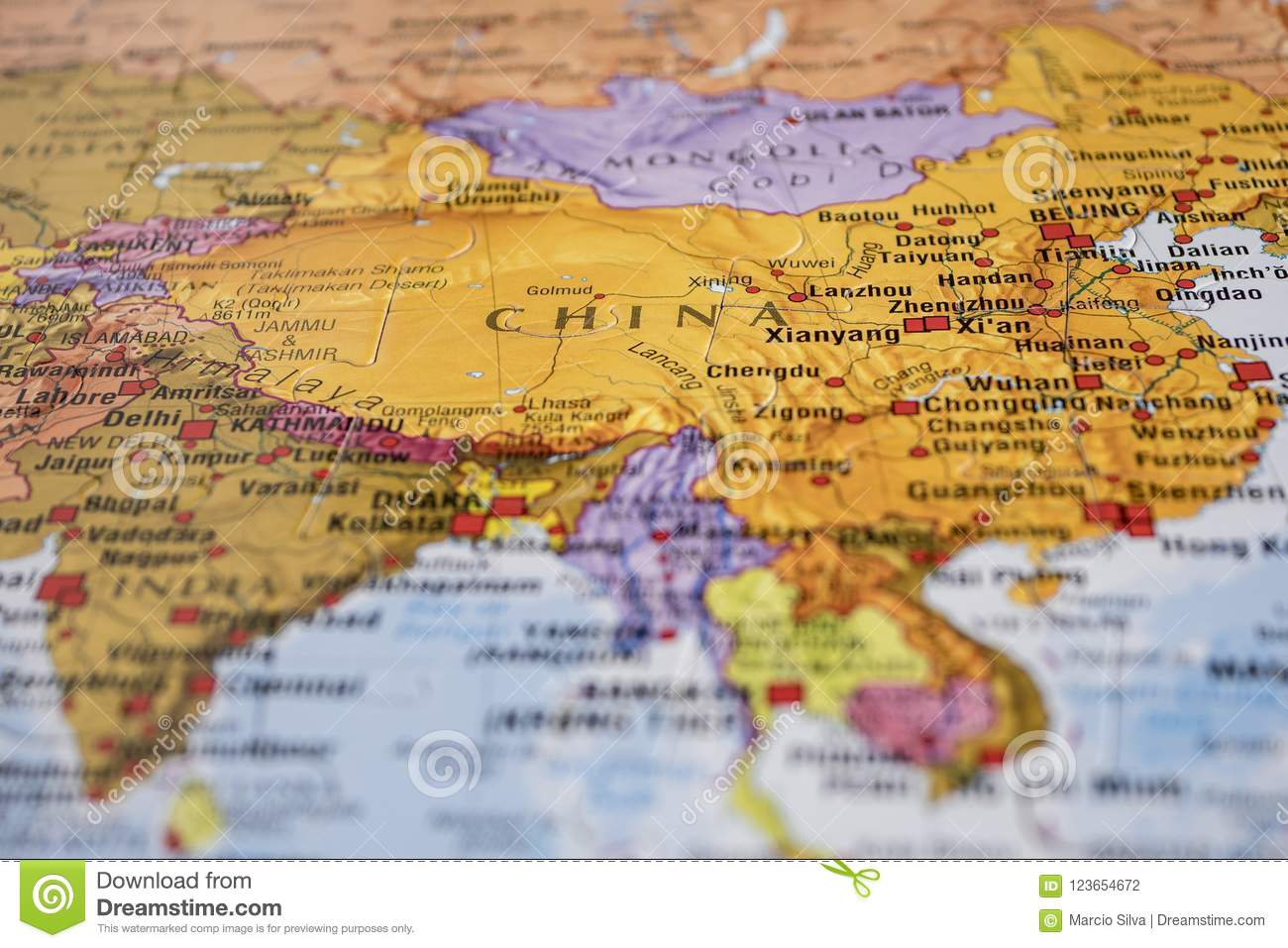 China On The Map Stock Photo Image Of Globe Global 123654672