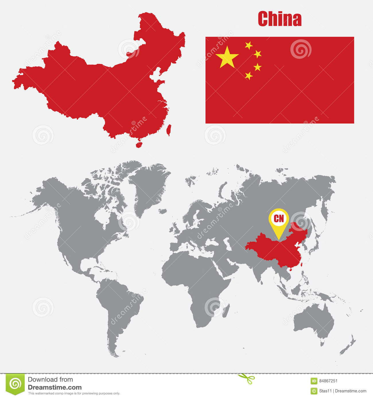 China map on a world map with flag and map pointer vector china map on a world map with flag and map pointer vector illustration gumiabroncs Choice Image
