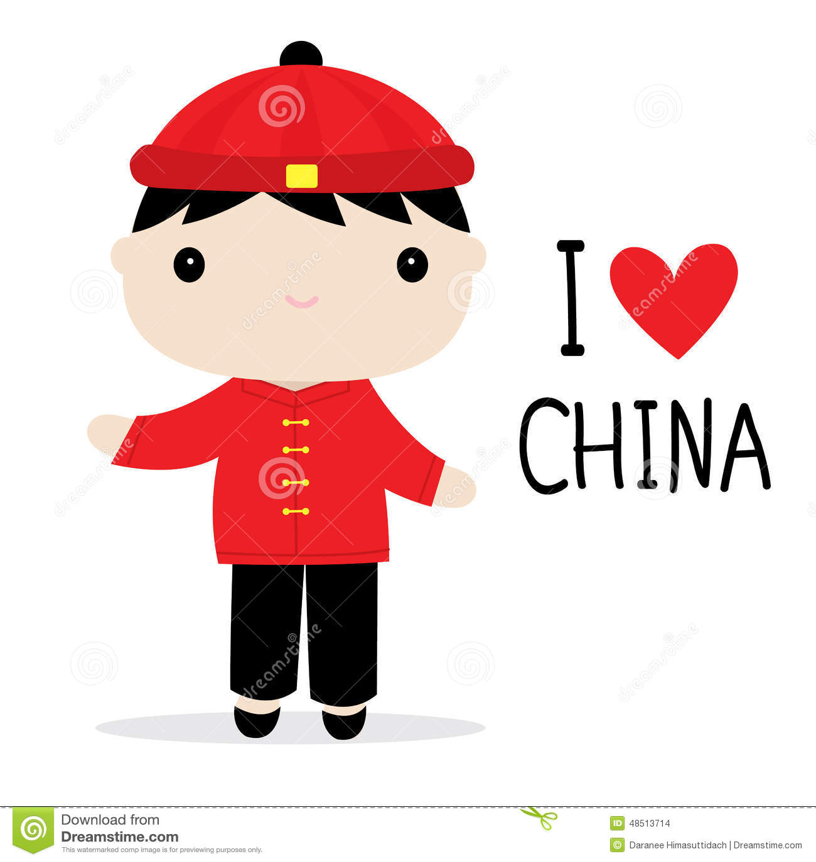 China Men National Dress Cartoon Vector Stock Vector