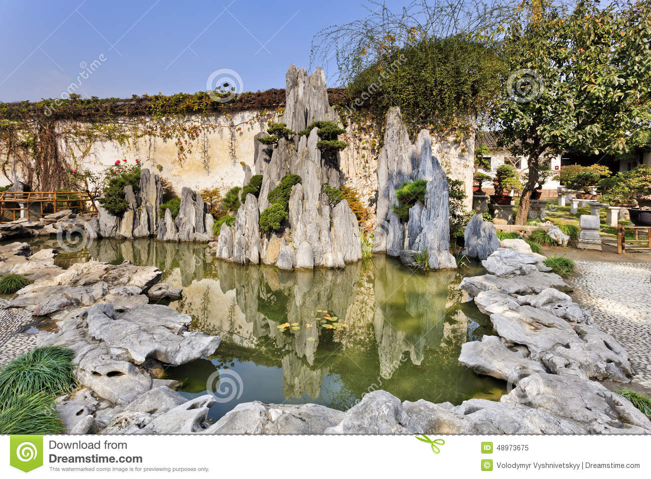 China Nanjing Garden Rocks Pond Stock Photo Image 48973675