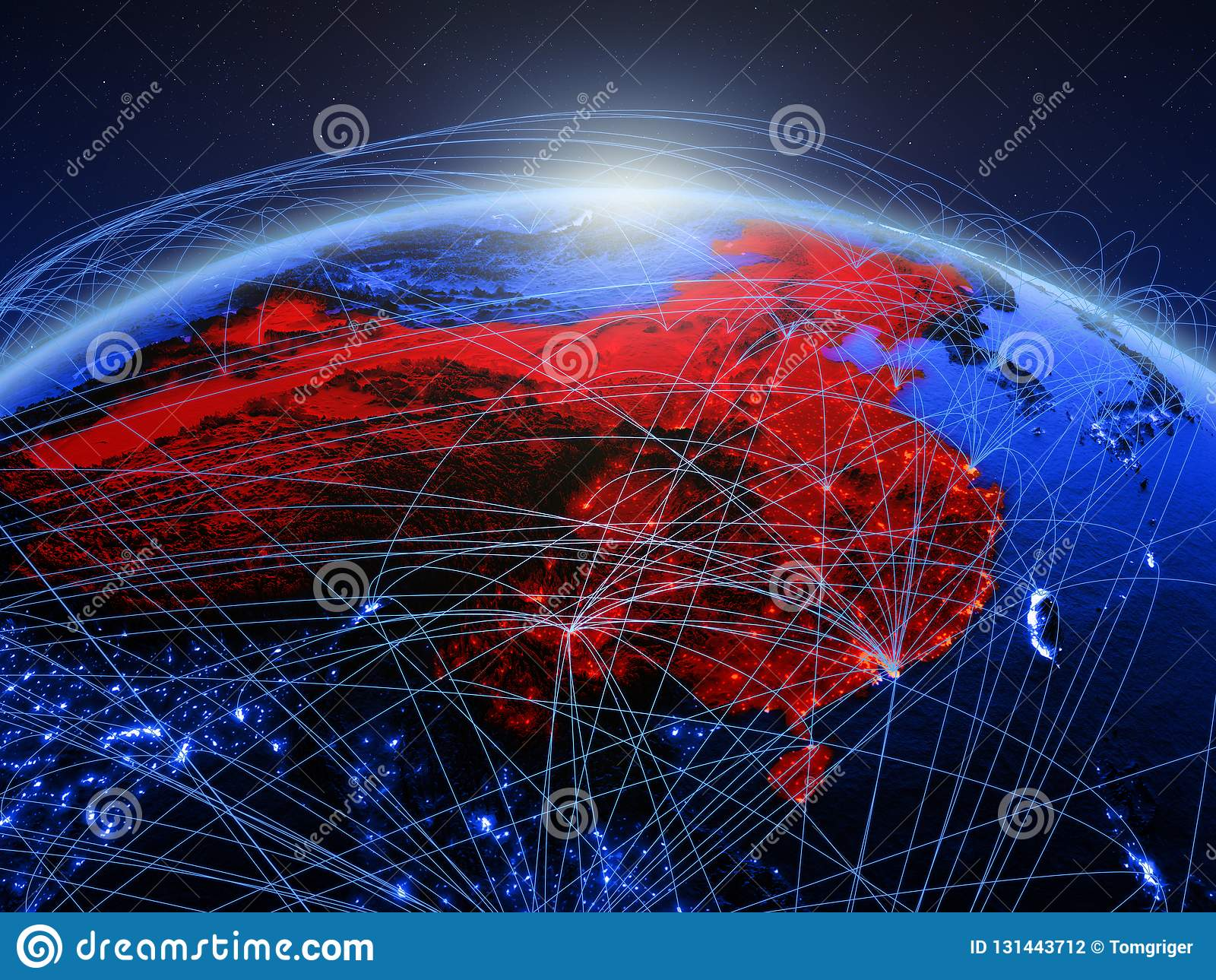 China op blauwe digitale aarde met internationaal netwerk die mededeling, reis en verbindingen vertegenwoordigen 3D Illustratie