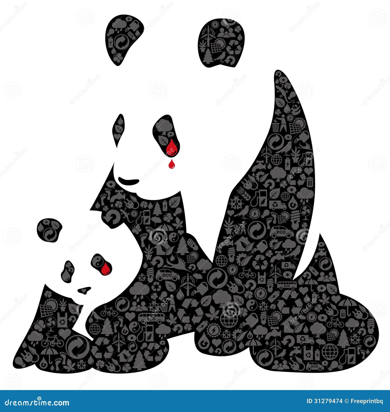 China panda made of ecology icons