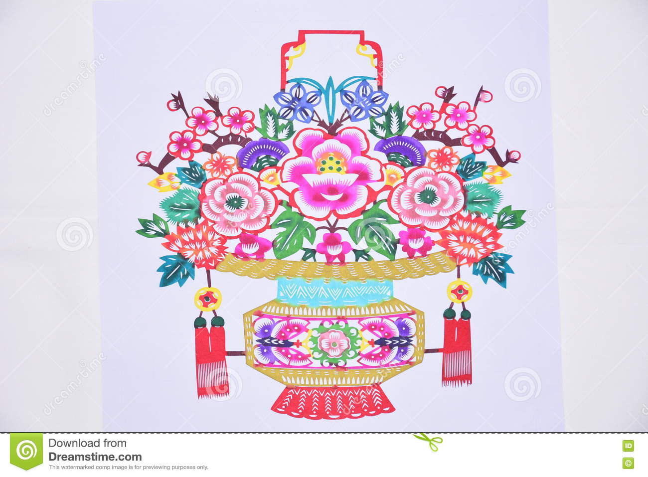 China Paper Cut Flowers Stock Illustration Illustration Of Real