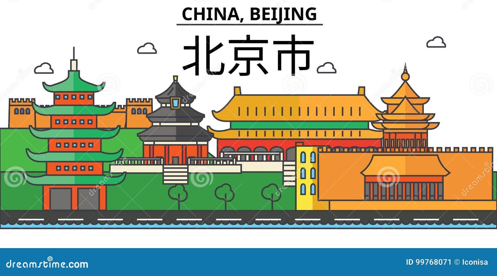 China, Pequim Arquitetura da skyline da cidade editável