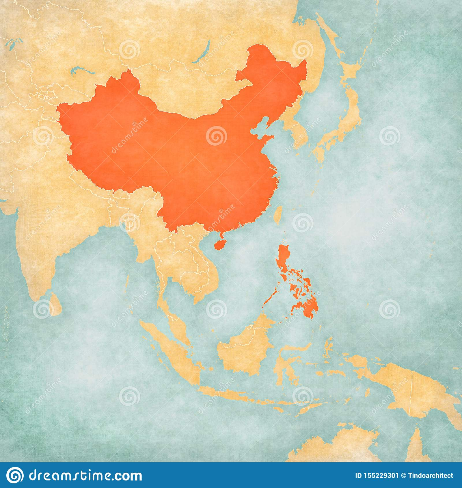 Picture of: Map Of East Asia China And Philippines Stock Illustration Illustration Of Worn East 155229301
