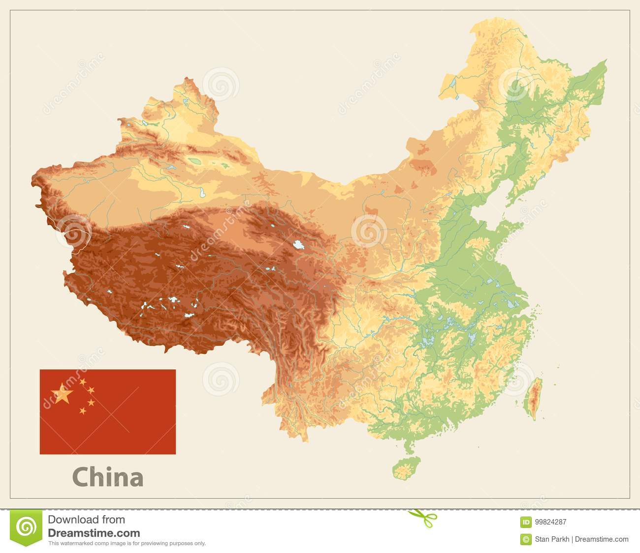 on china physical map