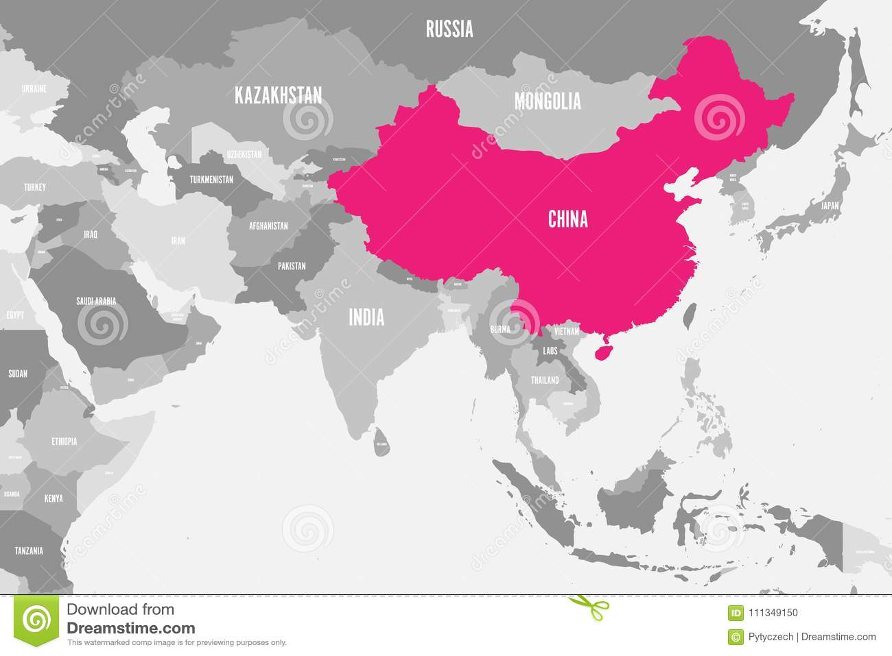 Label The Map Of Asia.China Pink Marked In Political Map Of Southern Asia Vector
