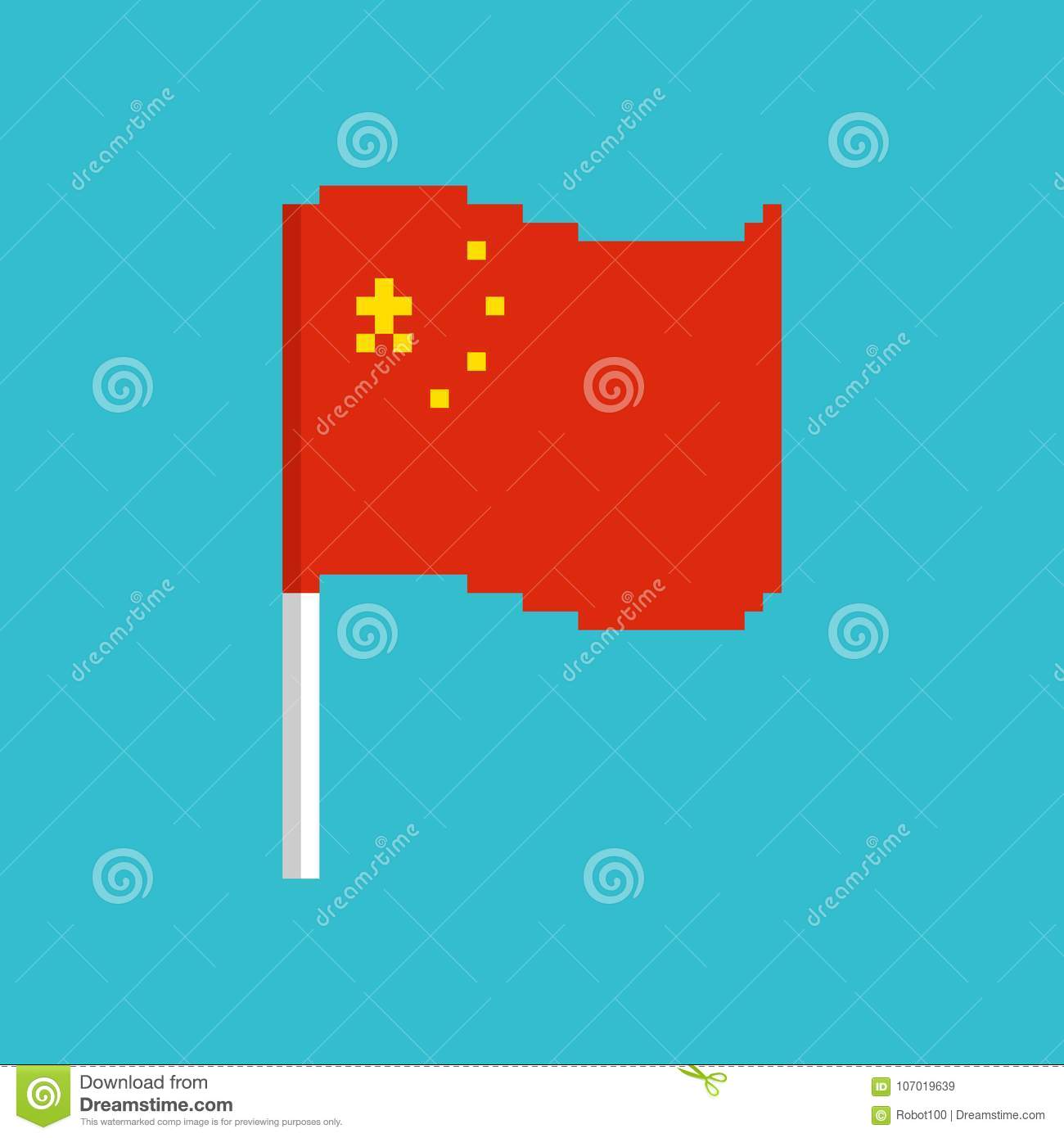 China Pixel Flag Pixelated Banner Chinese Political Bit Icon Stock Vector Illustration Of Concept Color 107019639