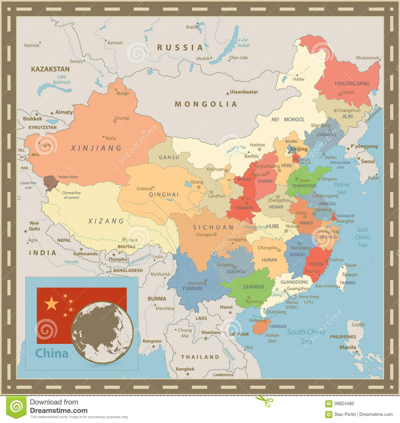 China Political Map Vintage Color Stock Vector Illustration Of