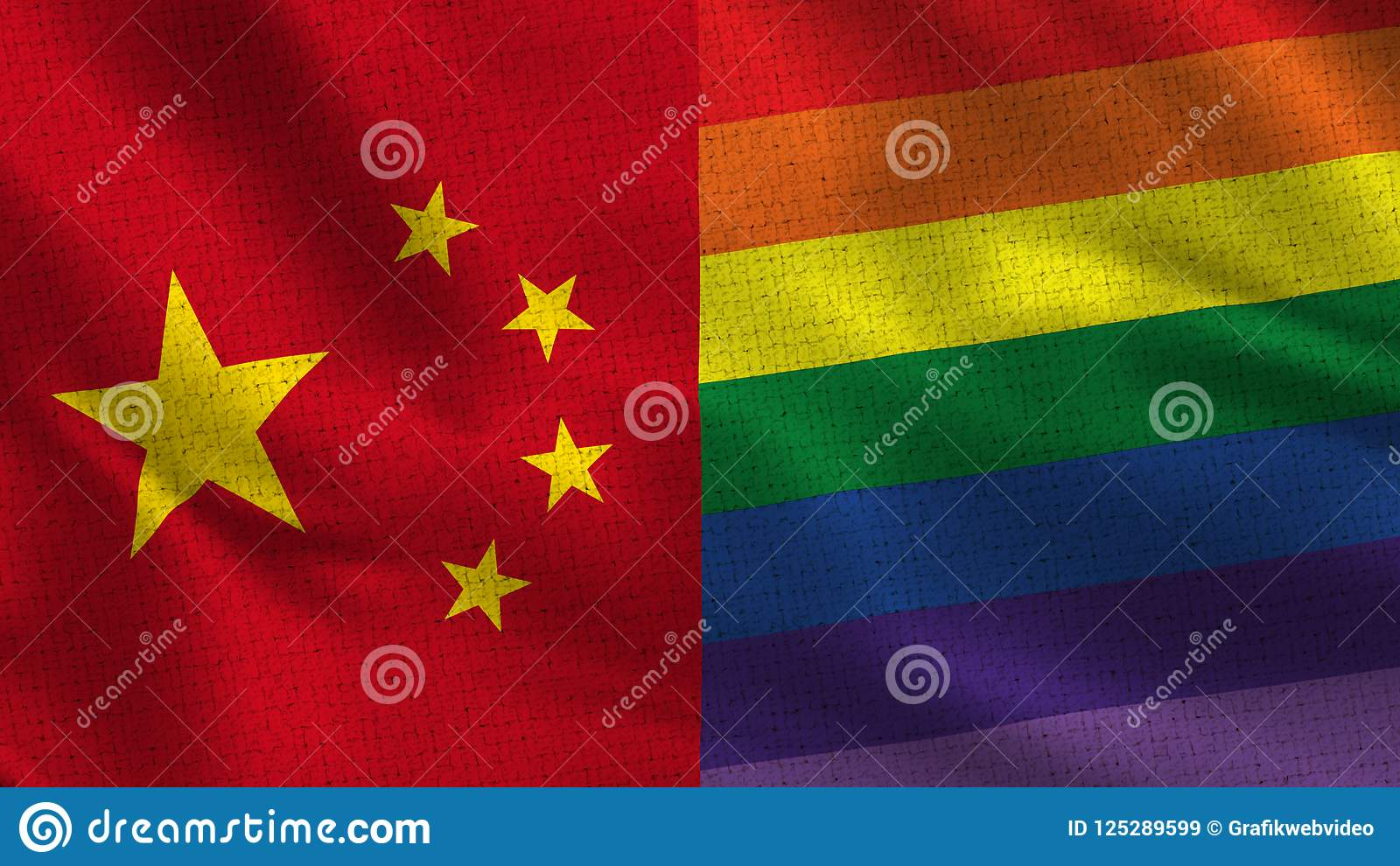China and Pride Gay - Two Half Flags Together