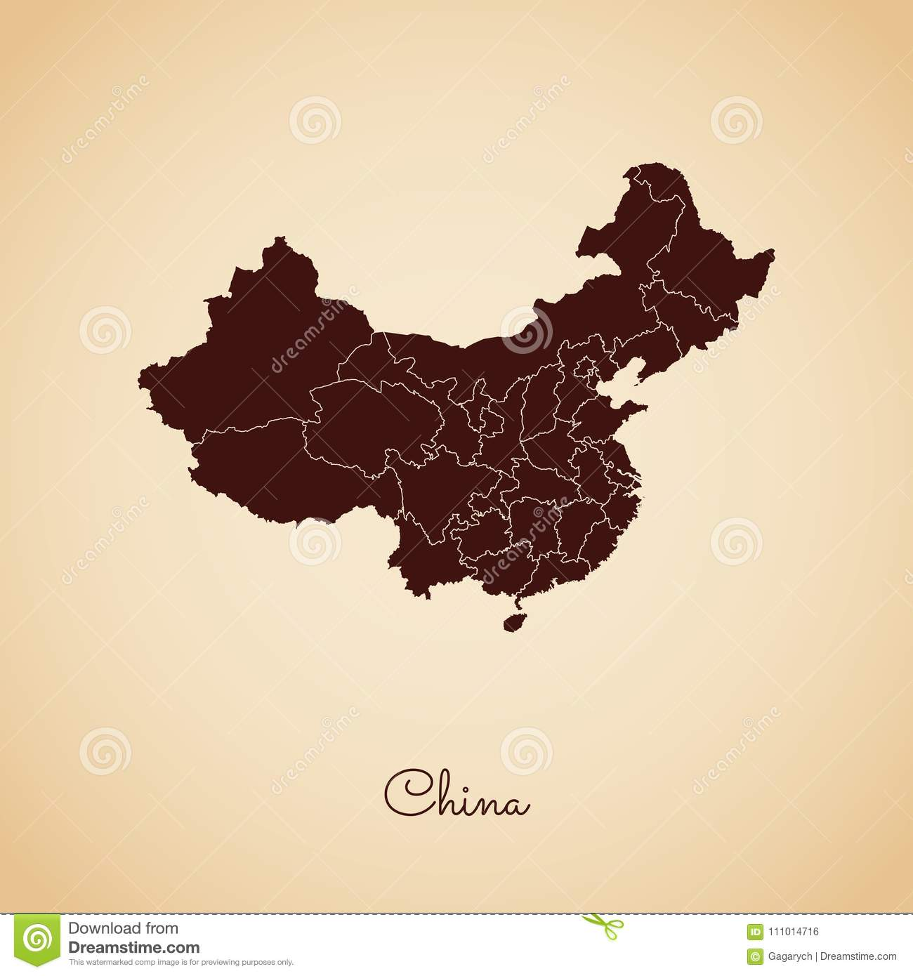 Region Of China Map.China Region Map Retro Style Brown Outline On Stock Vector