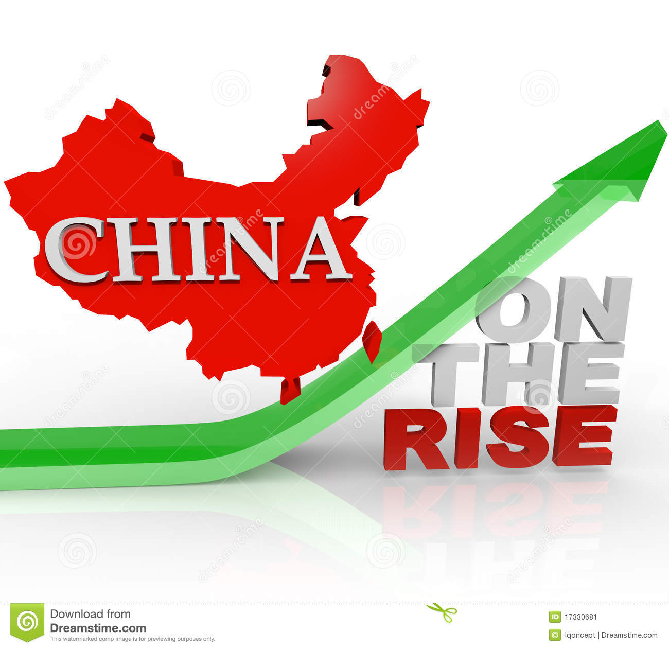 China On The Rise Country Map Arrow Stock Image